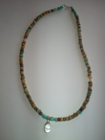 """Handcrafted Wood Bead Necklace, 18"""" (New)"""