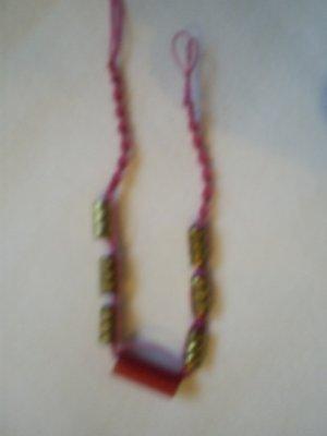"Handcrafted Macrame  Beaded Bracelet, 7"", New"
