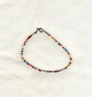 "Handcrafted Beaded  Ankle Bracelet, 8 1/2""   New"