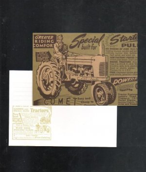Farm Tractor Postal Card with Envelope, Mint Condition, 2000, Comet