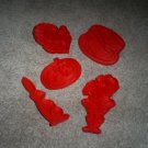 Five Vintage Tupperware Red Plastic Holiday Cookie Cutters