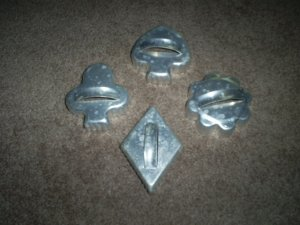Four Vintage Metal Cookie Cutters