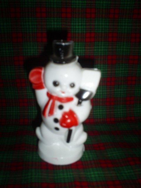 "Vintage Snowman figurine, Hollow plastic, 4"" tall"