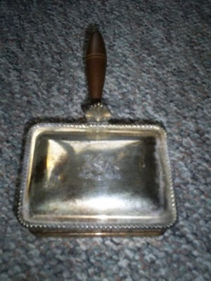 Vintage Silent Butler, Crumb catcher, F B Rogers Silverplate with Wooden Handle