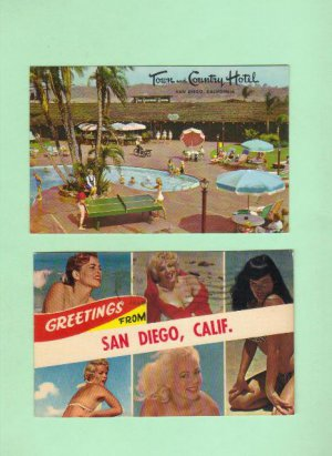 San Diego, California, Two Vintage Postcards, Very Good Condition