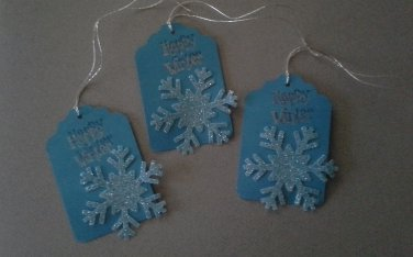 Handcrafted Holiday Gift Tags, Set  of Six, Happy Winter Blue Sparkle Snowflakes, New