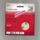 "Milwaukee 5"" Sanding Discs, New 5 Pack 180 Grid Medium, 8 Hole"