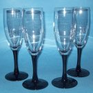 4 Black Stem Wine Flutes