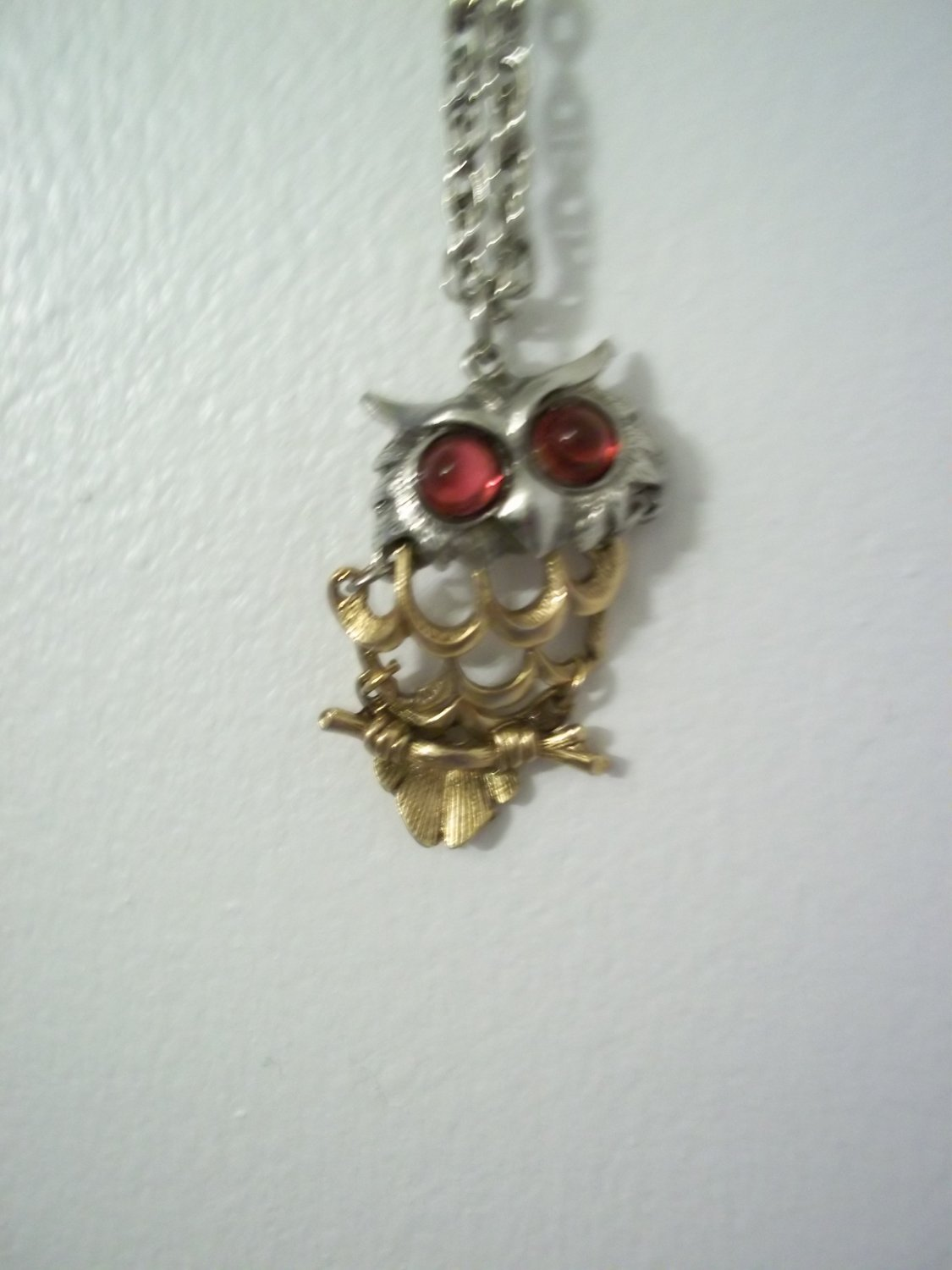 VINTAGE SWING OWL NECKLACE PENDANT 2 TONE WITH RED EYES