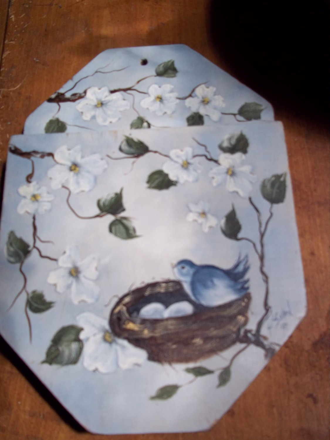 HAND PAINTED WALL POCKET DOGWOOD BLUEBIRD SIGNED