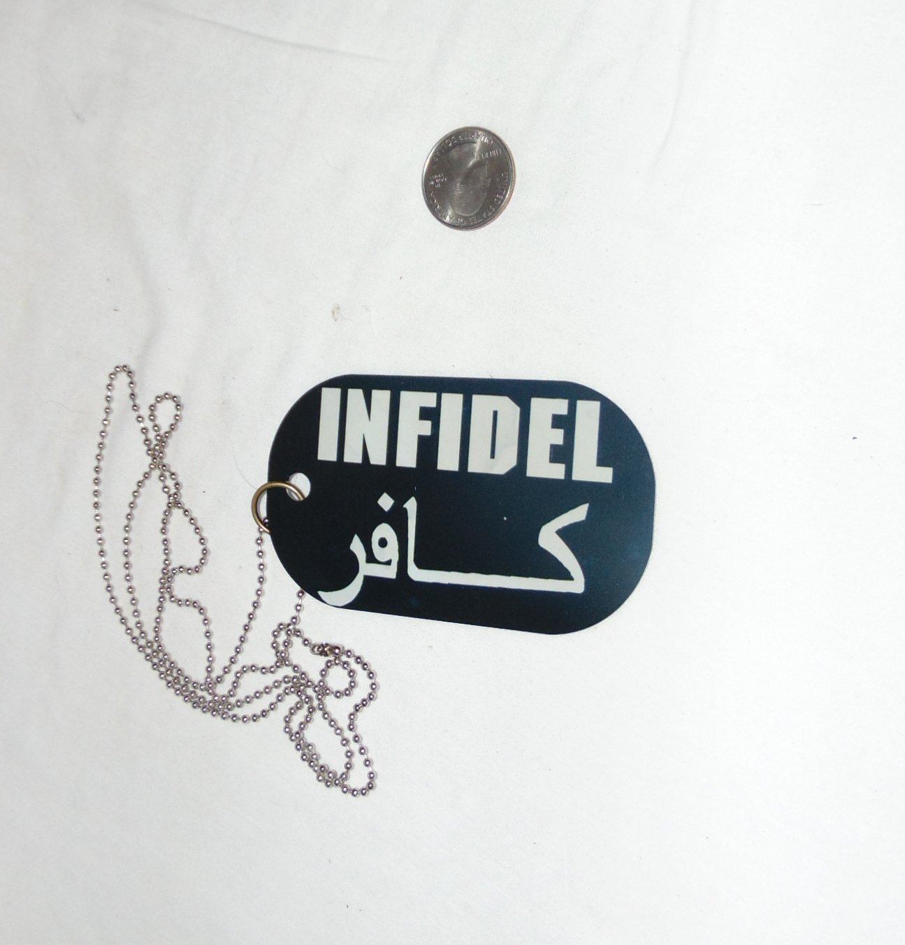 INFIDEL oversized dog tag necklace rear view mirror decoration 4 x 2.25""