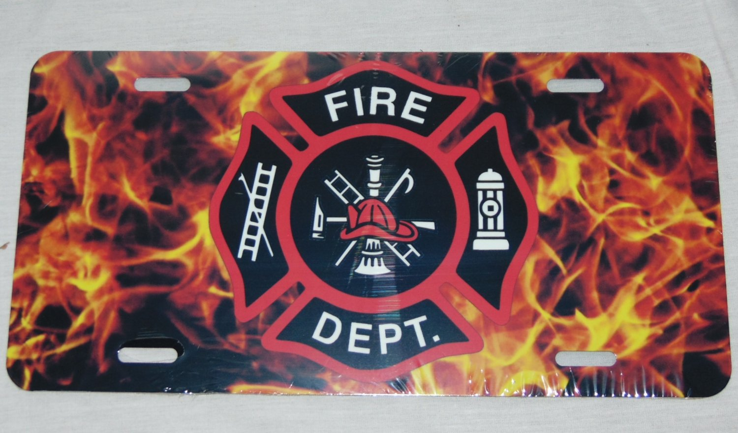 FIREMAN FIREFIGHTER FLAME LICENSE PLATE 6 X 12 INCHES NEW ALUMINUM