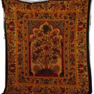 TREE OF LIFE ORANGE TINGE RED BIRDS TAPESTRY 85 X 96 COTTON NWT