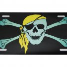 PIRATE YELLOW BANDANA LICENSE PLATE 6 X 12 INCHES ALUMINUM NEW