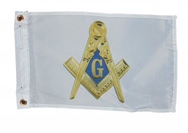 FREEMASONS MASONS ONE SIDED FLAG POLYESTER 12 X 18 INCHES SAIL BOAT