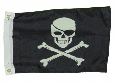 PIRATE JOLLY ROGER GOLD TOOTH SKULL FLAG POLYESTER 12 X 18 INCHES BOAT BIKE FORT
