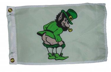 MOONING LEPRECHAUN GARDEN FLAG 12 X 18 INCHES TWO GROMMETS 2 SNAP HOOKS