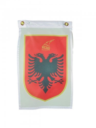 ALBANIA COAT OF ARMS FLAG DOOR HANGAR 12 X 18 INCHES 2 GROMMETS ONE SIDED