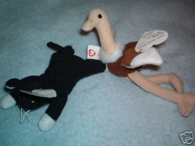 Ty Stretchy the Ostrich & Zip the Cat ~ Beanie Baby McD