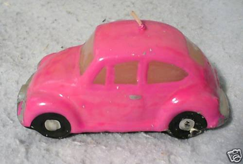 Vw Bug Beetle Candle Pink