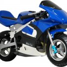 Pocket Bike 33cc 2-Stroke Gas Powered Pull Start Moto Tec Blue Ages 13+