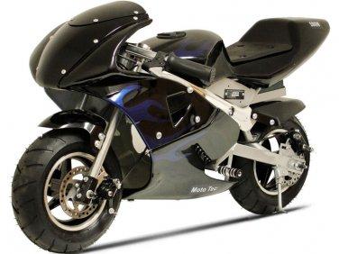 36V Pocket Bike by MOTOTEC Electric Black Blue Flame Age 12+