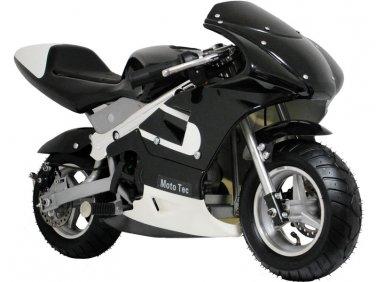 Pocket Bike 33cc 2-Stroke Gas Powered Pull Start Moto Tec Black Ages 13+