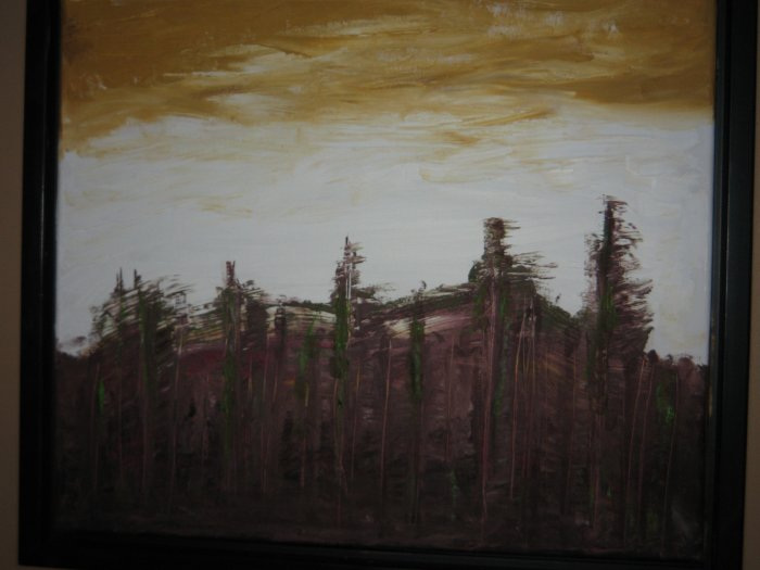 Across the lake 20 by 20 Oil - framed in Ebony Hard Wood
