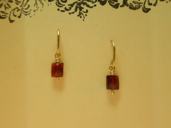 Garnet Squares on 14 k Gold Wire