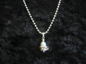 Blue Pearl Nest Egg Charm Necklace