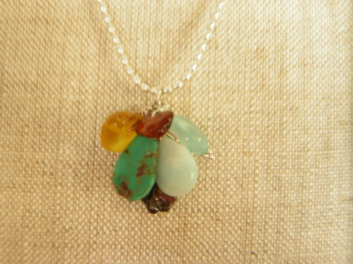 Cluster of Fall Colors on Sterling Silver Necklace