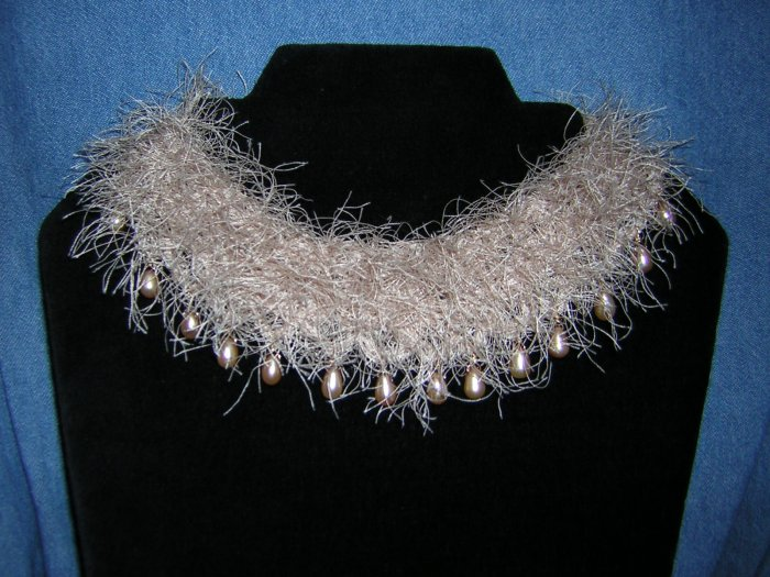 Champagne Freshwater Pearl Drops on Funky Yarn Collar