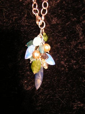 Waterfall of Blue & Green on Sterling Silver Necklace