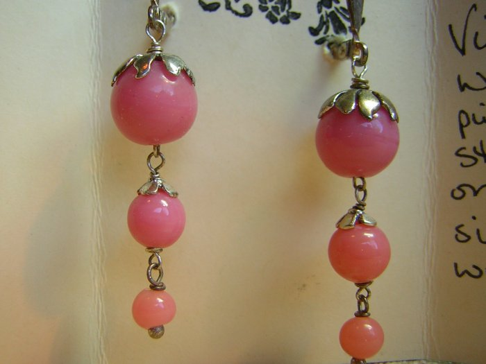 Vintage Pink Waterfall Earrings