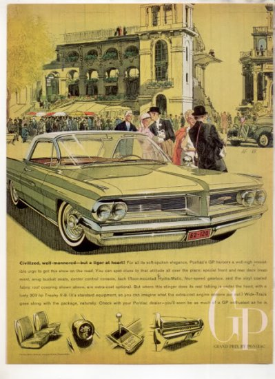 * 1962 PONTIAC GRAND PRIX PHOTO PRINT CAR AD