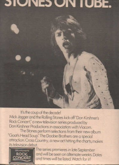 * 1973 ROLLING STONES MICK JAGGER ON TUBE PROMO AD
