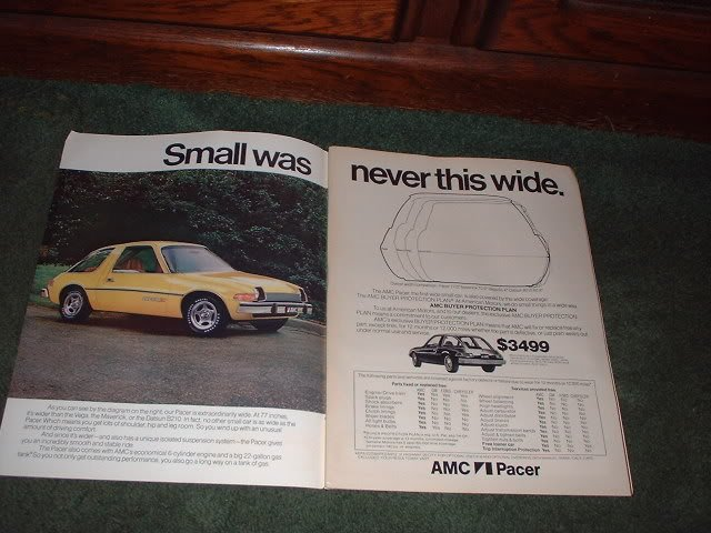 1976 AMC PACER VINTAGE CAR AD 2-PAGE
