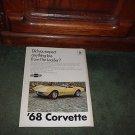 1968 CHEVY CORVETTE VINTAGE CAR AD