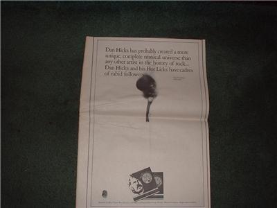 1972 DAN HICKS POSTER TYPE  AD