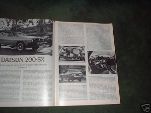 1977 DATSUN 200 SX ROAD TEST CAR AD 3-PAGE