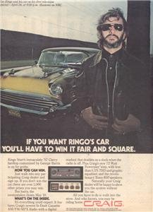 1978 RINGO STARR 57 CHEVY CRAIG STEREO POSTER TYPE AD