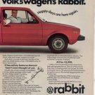 1975 VOLKSWAGEN RABBIT VINTAGE CAR AD 2-PAGE RED