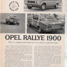 1971 1972 OPEL RALLYE 1900 ROAD TEST AD 4-PAGE