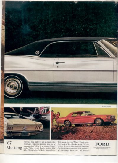 1967 FORD MUSTANG FAIRLANE LTD CAR AD 3-PAGE