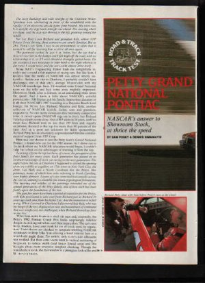 * 1982 PONTIAC GRAND PRIX RICHARD PETTY ROAD TEST AD