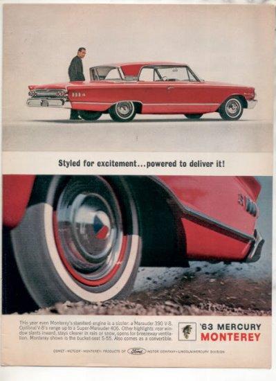 * 1963 MERCURY MONTEREY PHOTO PRINT CAR AD