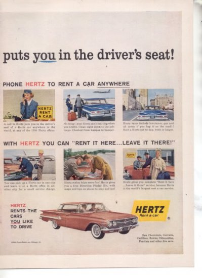 * 1960 HERTZ RENT A CAR CHEVY IMPALA BEL AIR CAR AD