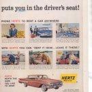 * 1960 HERTZ RENT A CAR CHEVY IMPALA BEL AIR CAR AD