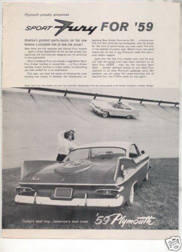 1959 PLYMOUTH FURY SPORT VINTAGE CAR AD