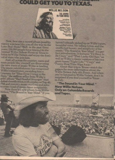 * 1976 WILLIE NELSON POSTER TYPE AD